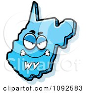 Clipart Mad Blue West Virginia State Character Royalty Free Vector Illustration