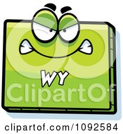 Clipart Mad Green Wyoming State Character Royalty Free Vector Illustration