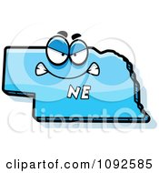 Clipart Mad Blue Nebraska State Character Royalty Free Vector Illustration