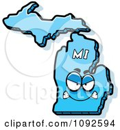 Clipart Mad Blue Michigan State Character Royalty Free Vector Illustration by Cory Thoman