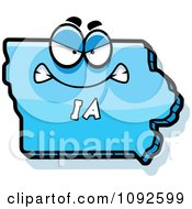 Clipart Mad Blue Iowa State Character Royalty Free Vector Illustration
