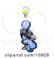 Smart Blue Man Seated With His Legs Crossed Brainstorming And Writing Ideas Down In A Notebook Lightbulb Over His Head