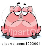 Clipart Chubby Depressed Pig Royalty Free Vector Illustration