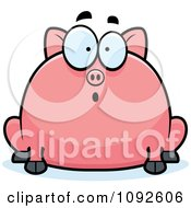 Clipart Chubby Surprised Pig Royalty Free Vector Illustration