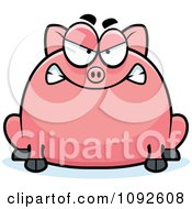 Clipart Chubby Mad Pig Royalty Free Vector Illustration