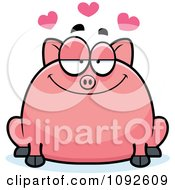 Clipart Chubby Pig In Love Royalty Free Vector Illustration
