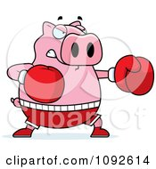 Clipart Chubby Pig Boxing Royalty Free Vector Illustration by Cory Thoman