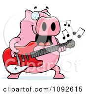 Clipart Chubby Pig Guitarist Royalty Free Vector Illustration