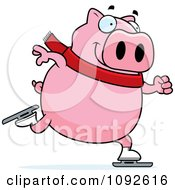 Clipart Chubby Pig Ice Skating Royalty Free Vector Illustration