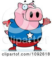 Clipart Chubby Super Pig Waving Royalty Free Vector Illustration
