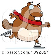 Clipart Chubby Beaver Ice Skating Royalty Free Vector Illustration