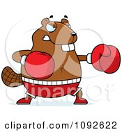 Clipart Chubby Beaver Boxing Royalty Free Vector Illustration