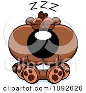 Clipart Cute Beaver Sleeping Royalty Free Vector Illustration