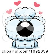 Clipart Cute White Poodle Puppy In Love Royalty Free Vector Illustration by Cory Thoman