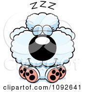 Clipart Cute White Poodle Puppy Sleeping Royalty Free Vector Illustration by Cory Thoman