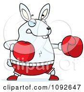 Clipart Chubby White Rabbit Boxing Royalty Free Vector Illustration by Cory Thoman