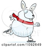 Clipart Chubby White Rabbit Ice Skating Royalty Free Vector Illustration