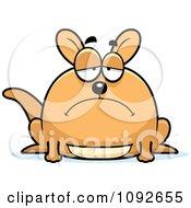 Clipart Chubby Depressed Kangaroo Royalty Free Vector Illustration