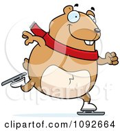 Clipart Chubby Hamster Ice Skating Royalty Free Vector Illustration