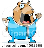 Clipart Chubby Hamster Waving In Pajamas Royalty Free Vector Illustration