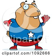Clipart Chubby Super Hamster Waving Royalty Free Vector Illustration by Cory Thoman