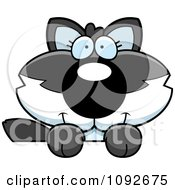 Clipart Cute Baby Wolf Looking Over A Surface Royalty Free Vector Illustration
