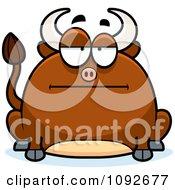Clipart Chubby Bored Bull Royalty Free Vector Illustration