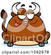 Clipart Chubby Drunk Bull Royalty Free Vector Illustration
