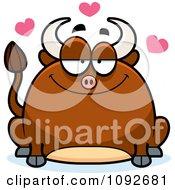 Clipart Chubby Bull In Love Royalty Free Vector Illustration