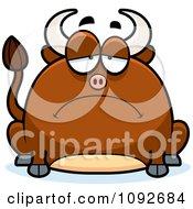 Clipart Chubby Sad Bull Royalty Free Vector Illustration