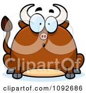 Clipart Chubby Surprised Bull Royalty Free Vector Illustration