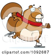 Clipart Chubby Squirrel Ice Skating Royalty Free Vector Illustration