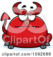 Clipart Chubby Bored Devil Royalty Free Vector Illustration