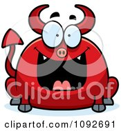 Clipart Chubby Grinning Devil Royalty Free Vector Illustration