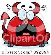 Clipart Chubby Panicking Devil Royalty Free Vector Illustration