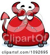 Clipart Chubby Sad Devil Royalty Free Vector Illustration