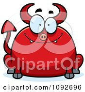 Clipart Chubby Smiling Devil Royalty Free Vector Illustration