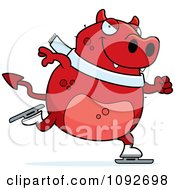 Clipart Chubby Devil Ice Skating Royalty Free Vector Illustration
