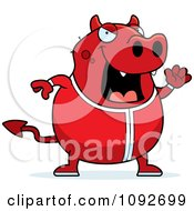 Clipart Chubby Devil Waving In His Pajamas Royalty Free Vector Illustration
