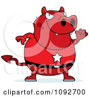Clipart Chubby Super Devil Waving Royalty Free Vector Illustration