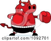 Clipart Chubby Devil Boxing Royalty Free Vector Illustration by Cory Thoman
