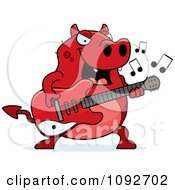 Clipart Chubby Devil Playing A Guitar Royalty Free Vector Illustration
