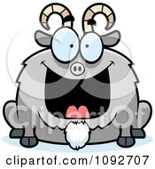 Clipart Chubby Grinning Goat Royalty Free Vector Illustration