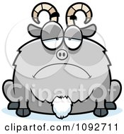Clipart Chubby Sad Goat Royalty Free Vector Illustration
