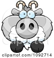 Clipart Cute Gray Goat Looking Over A Surface Royalty Free Vector Illustration