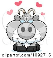Clipart Cute Gray Goat In Love Royalty Free Vector Illustration