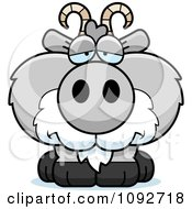 Clipart Depressed Gray Goat Royalty Free Vector Illustration