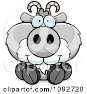 Clipart Cute Gray Goat Sitting Royalty Free Vector Illustration