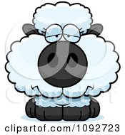 Clipart Depressed Baby Sheep Royalty Free Vector Illustration