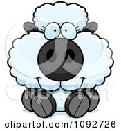 Clipart Cute Baby Sheep Sitting Royalty Free Vector Illustration
